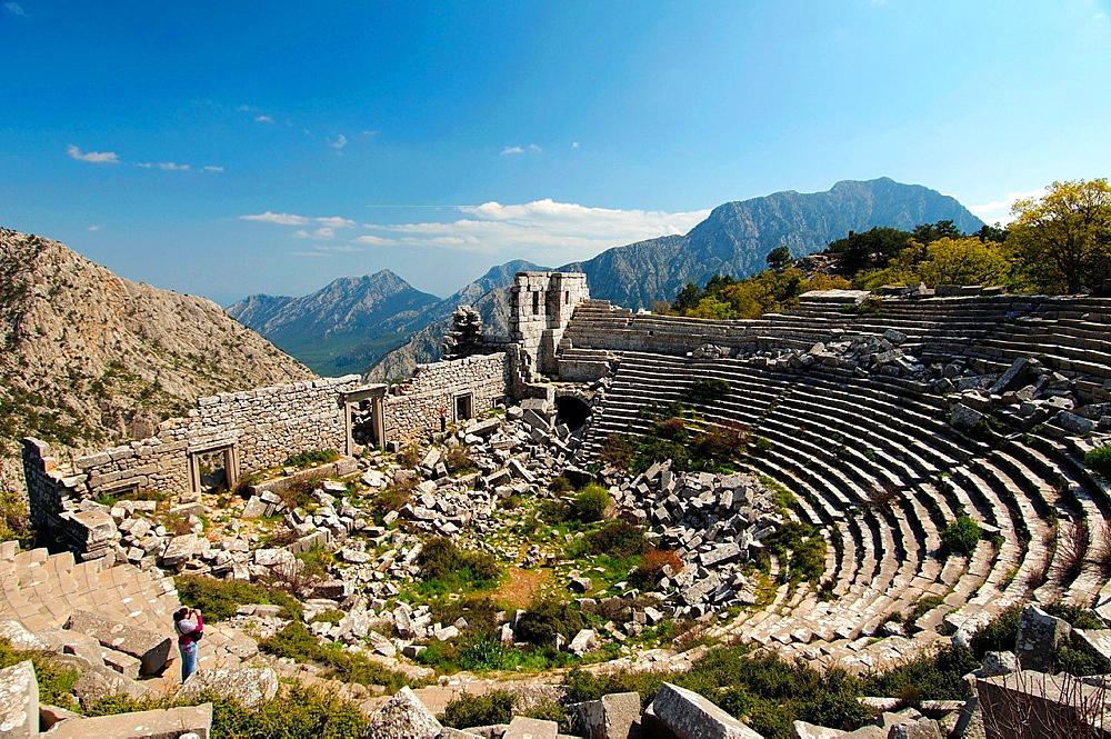 Theater, Antique city of Termesos Termessus Taurus Mountain, Turkey, Western Asia