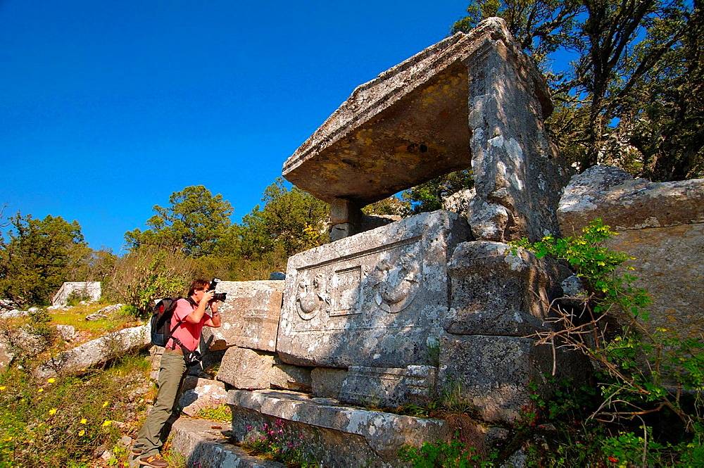 Lycian sarcophagus, Antique city of Termesos Termessus Taurus Mountain, Turkey, Western Asia