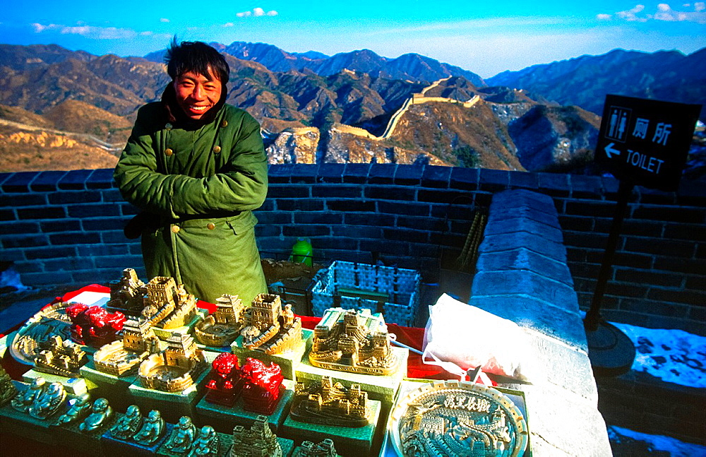 Souvenir Seller At The Wall At Badaling