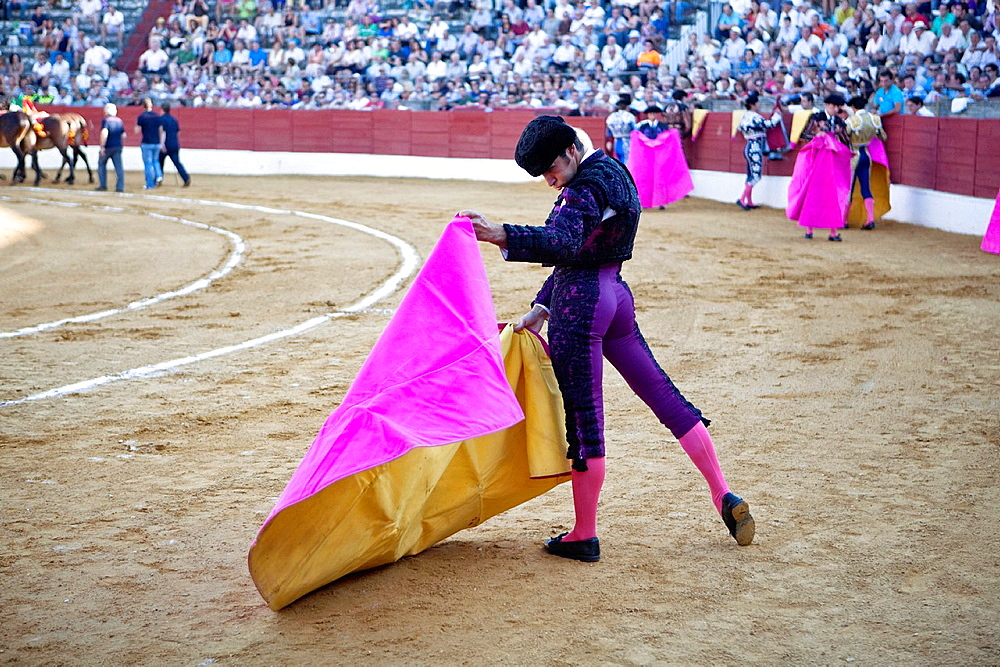 Bullfighter with the Cape before the Bullfight, Baeza, jaen province, Spain