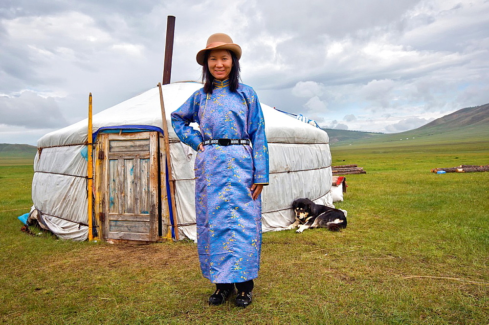Woman in front of a yurt. Mongolia, Khovsgol, Zuun Nuur lake. Model Released