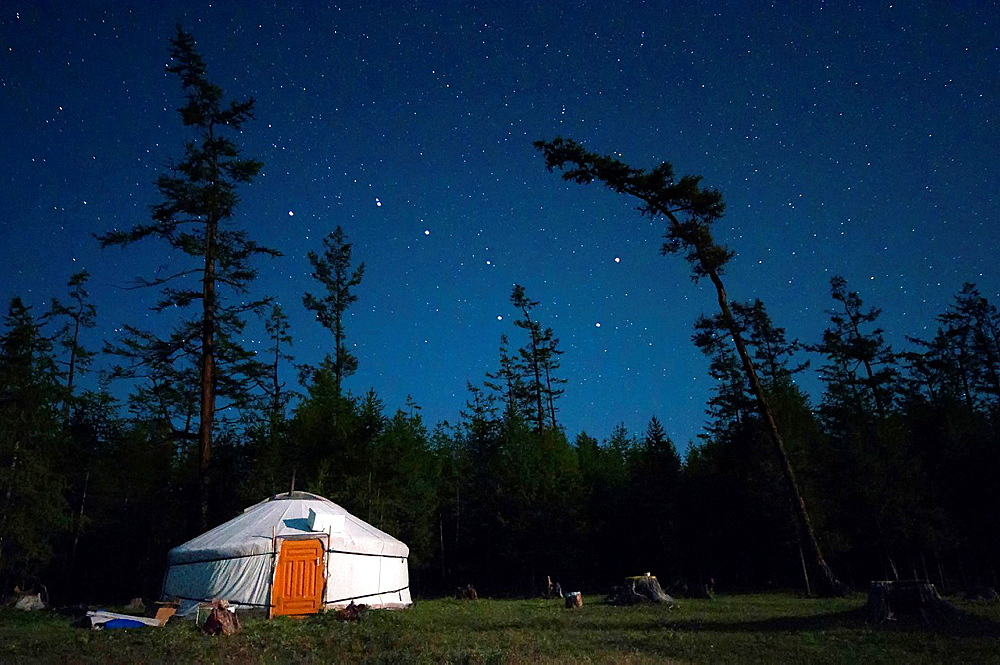The yurt and the Big Dipper. Mongolia, Khovsgol, Khovsgol lake