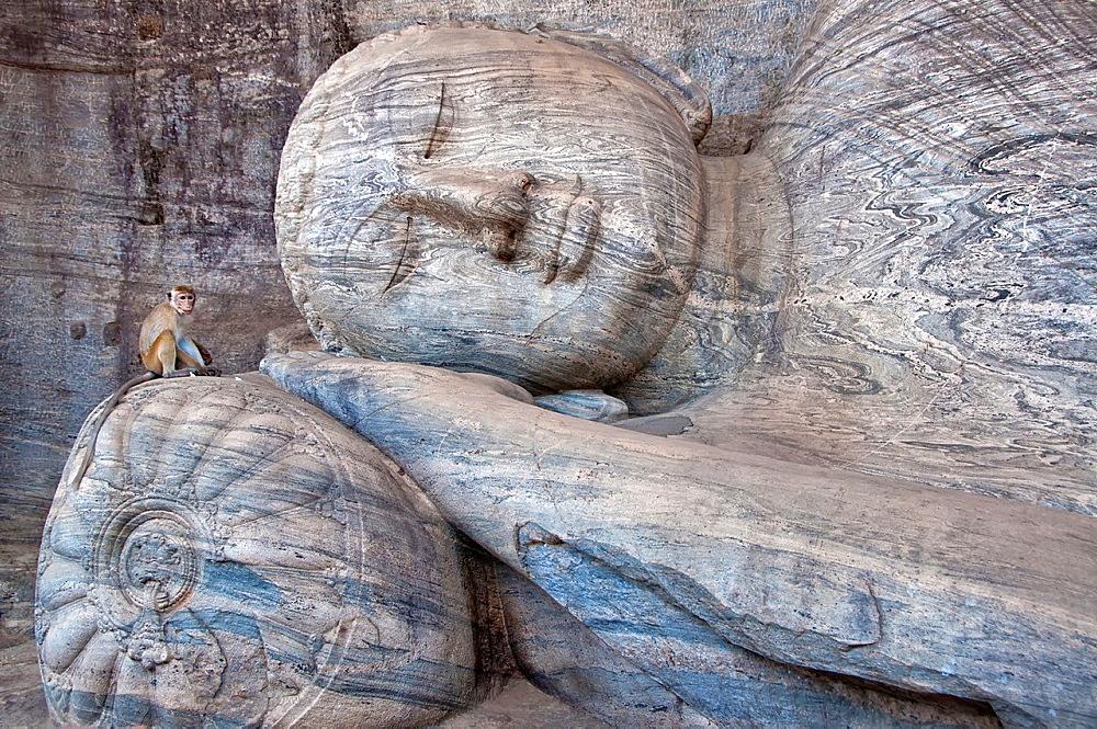Reclining Buddha in Gal Vihara, Polonnaruwa. Sri Lanka, Polonnaruwa