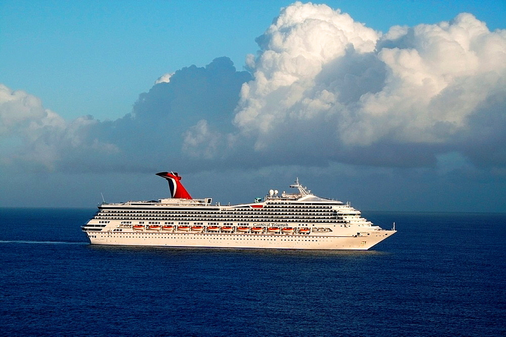 The Carnival Cruise Lines 'Triumph' sails along the blue Caribbean