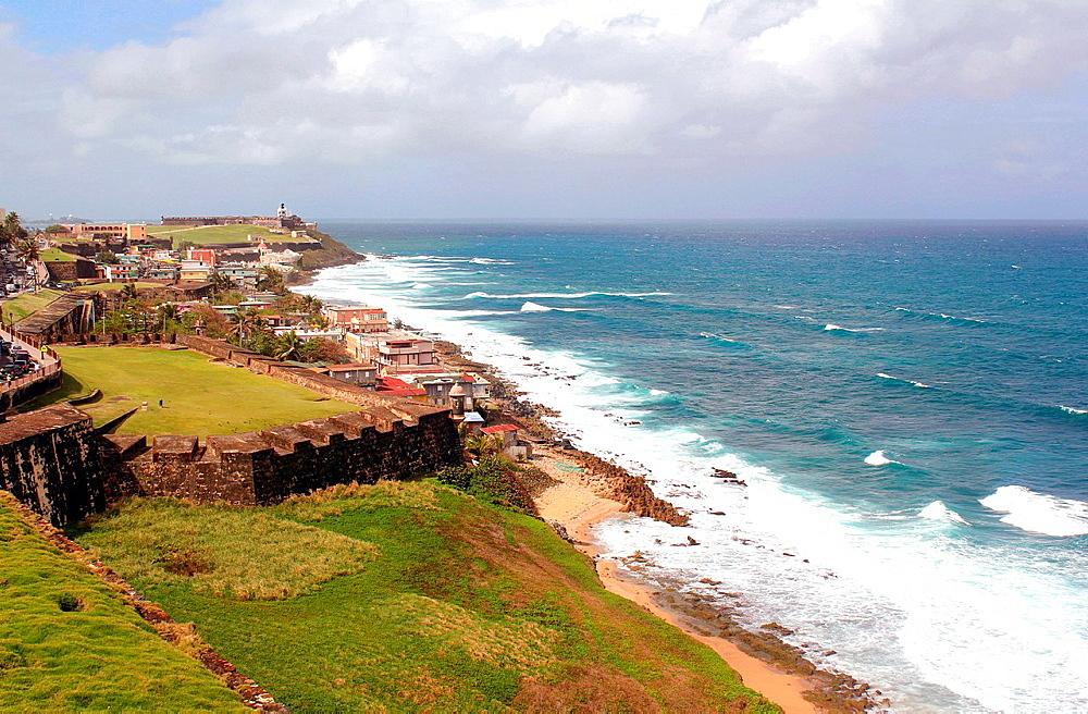 A view of the coast line from the 16th century Spanish Castillo San Felipe del Morro in San Juan, Puerto Rico