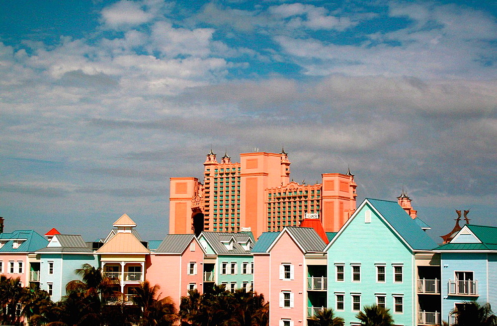 Colorful homes and buildings add to the charm of the Caribbean island of Nassau, Bahamas