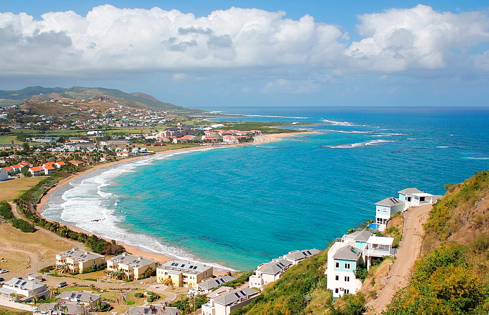 A spectacular view of waves breaking along the shoreline of Frigate Bay on the Caribbean island of St Kitts