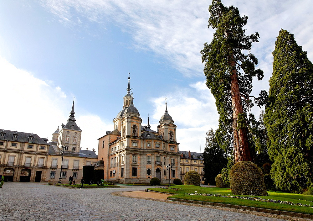Formal gardens and Colegiata of San Ildefonso, La Granja, Segovia Province, Spain