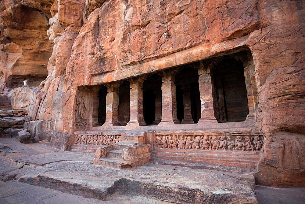 India, Karnataka State, Badami City, Badami Caves,