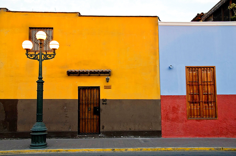 Peru. Lima city. Traditional houses in Pueblo Libre district.