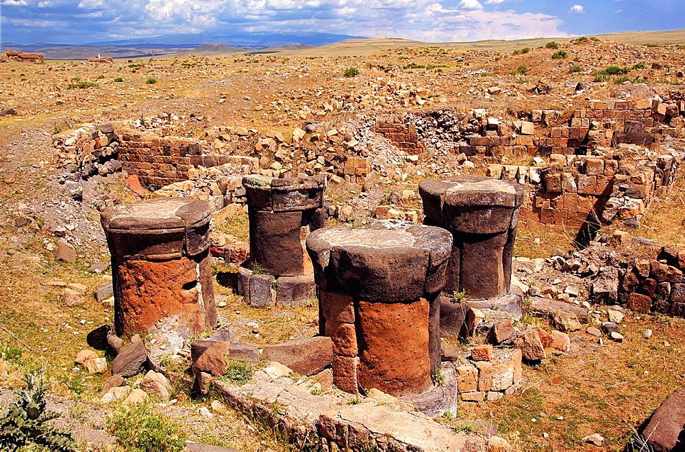 Remains of a Zoroastrian fire worshipping temple (Fire Temple, Atesgede, 1st-4th century AD), Ani, Anatolia, Turkey