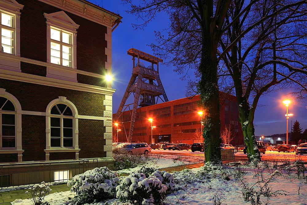 D-Herten, Ruhr area, Westphalia, North Rhine-Westphalia, hard coal mining, coal-pit Ewald 1/2/7, shaft 7, shaft building, shaft house, pit tower, Route of Industrial Heritage, evening, snow.