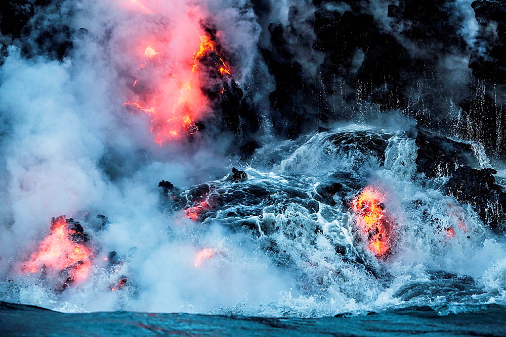 Lava flowing into water