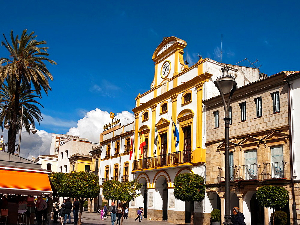 Spain square in Merida. Badajoz. Extremadura. Spain.