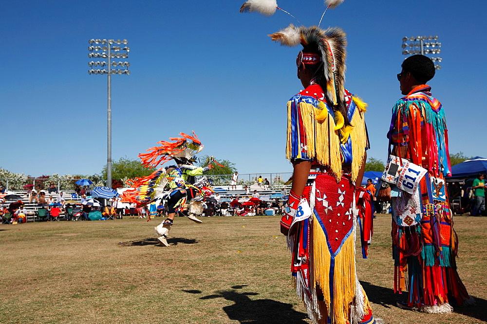 Native American in traditional costume at a Powwow in Phoenix  Arizona  USA.