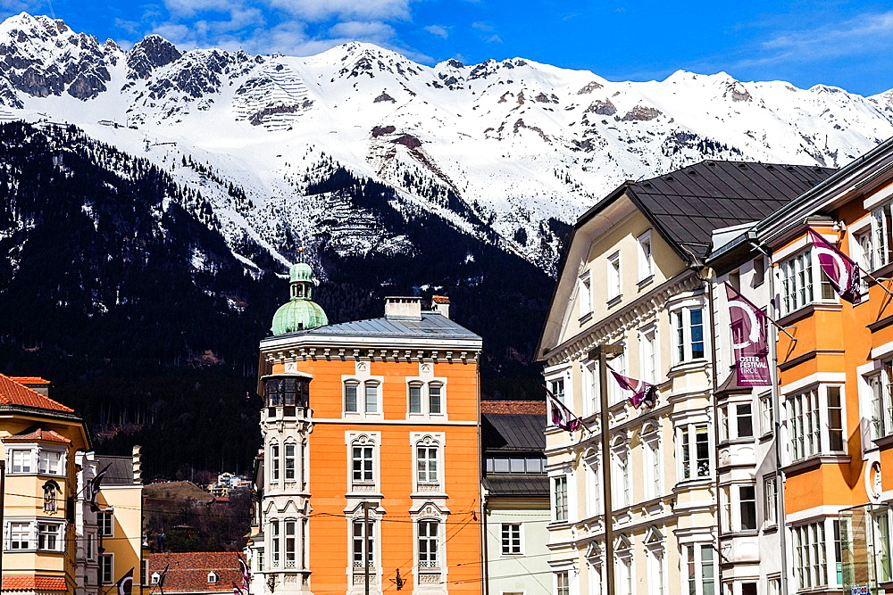 Maria-Theresien-Strasse, downtown of Innsbruck, Tyrol, Austria, Europe.