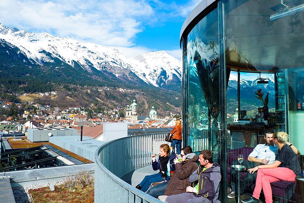 View of Innsbruck from 360 grades bar. Innsbruck, Austria, Europe