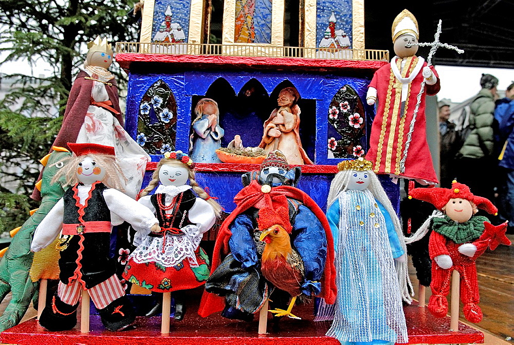 a competition and annual exhibition of Christmas cribs stand on the Main market square, Krakow, Poland, Central Europe