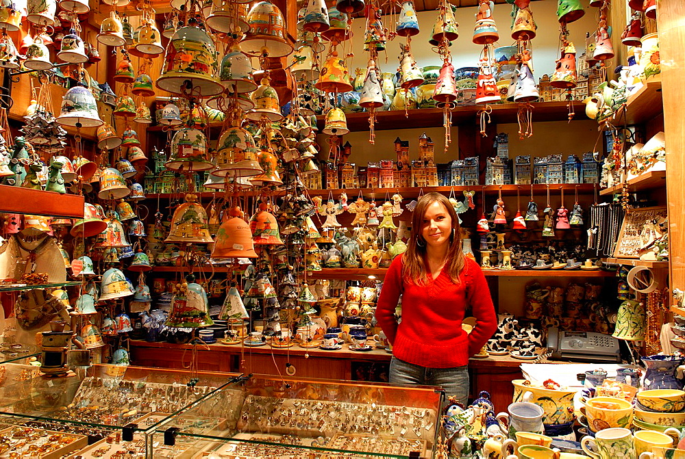 giftshop inside the Cloth Hall, Main Square, Krakow, Poland, Central Europe