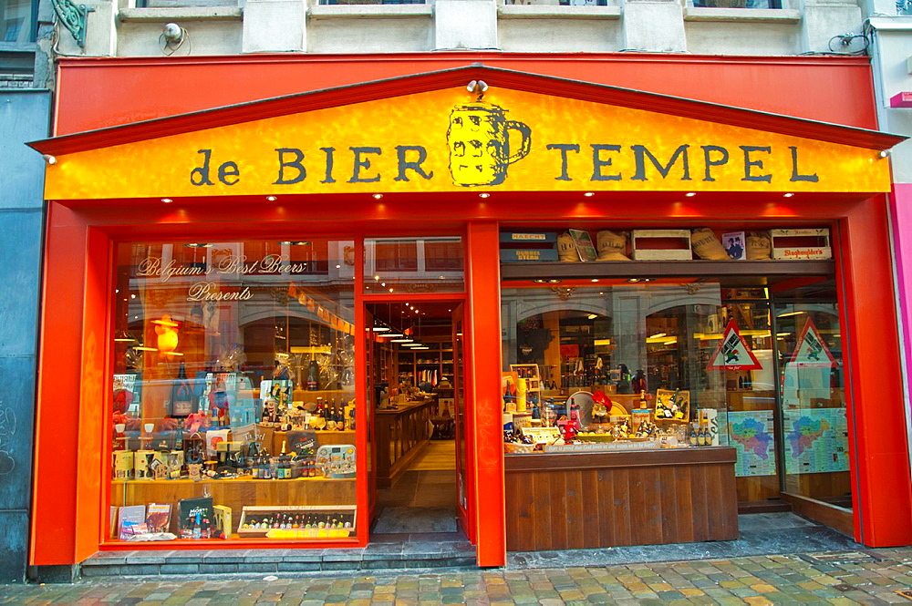 De Beer Tempel shop along Rue du Marche aux Herbes street central Brussels Belgium Europe.
