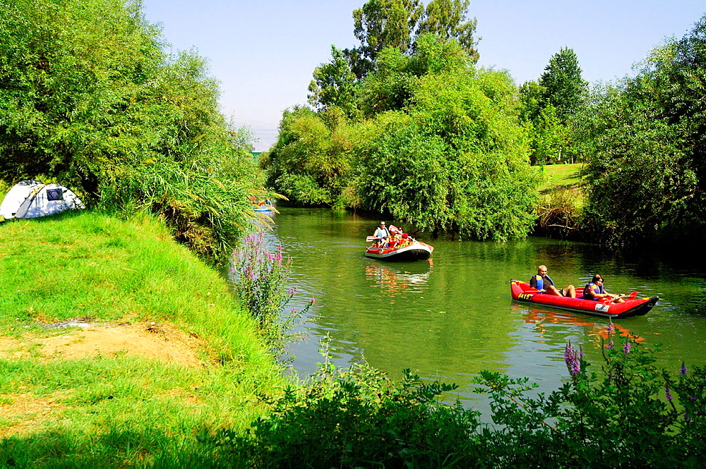 Israel, Upper Galilee, Rafting in the Jordan river.