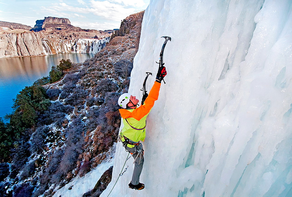 Ice climbing Lower Falls Right which is rated WI-4 and located at Shoshone Falls in the Snake River Canyon near the city of Twin Falls in southern Idaho