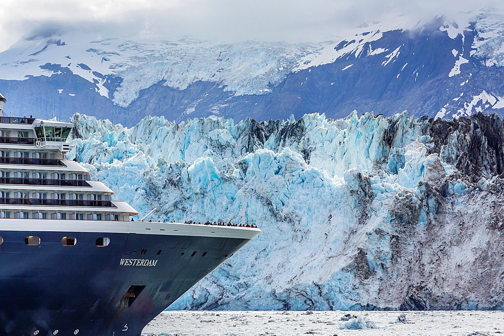 A view of the commercial cruise ship Westerdam operating in Southeast Alaska, USA, Pacific Ocean.