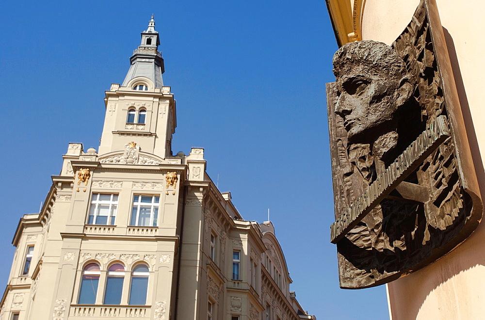 Kafka birthplace plaque in Franz Kafka square, Stare Mesto, Prague, Czech Republic.