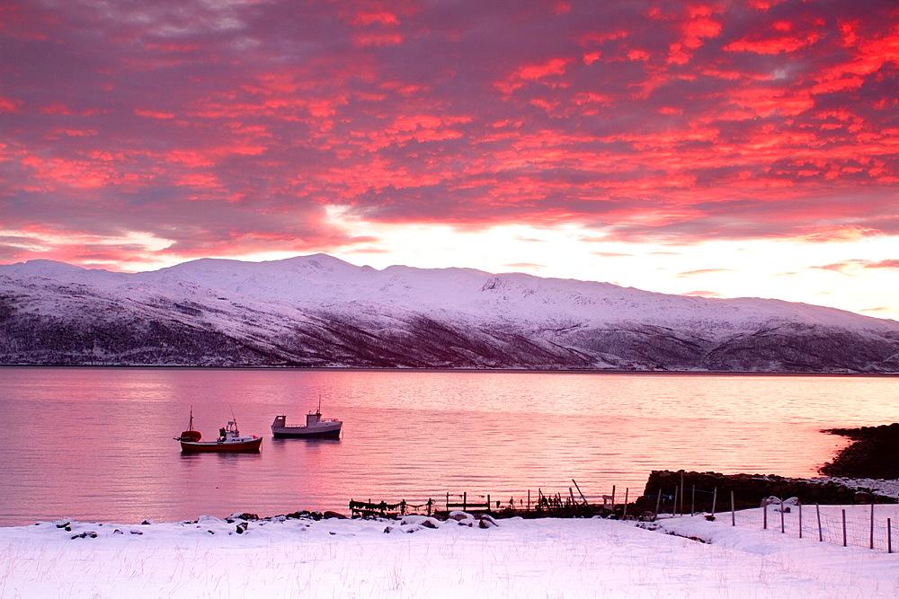Fishing boats in Kvaloyvagen, near Tromso, Norway.