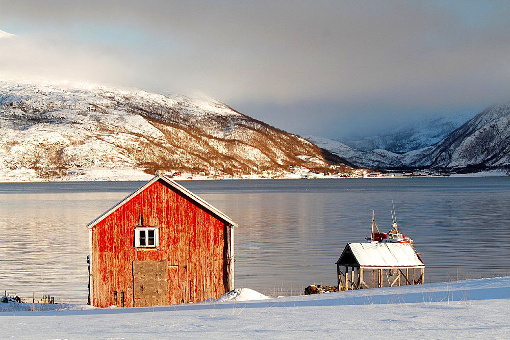 Cottage in a fjord near Tromso, Norway. - 817-440815