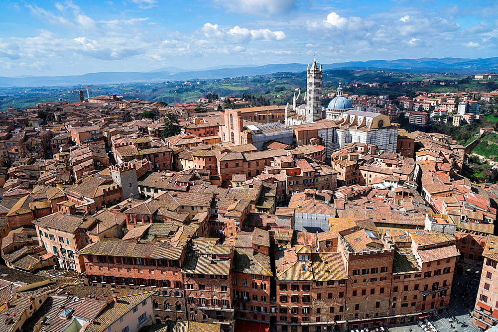 Panoramic view of Siena with Cathedral Santa Maria Assunto.