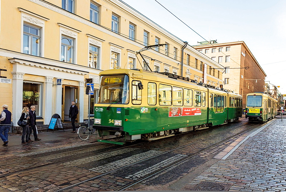 Public Transportation Moving Tramway Helsinki, Finland.