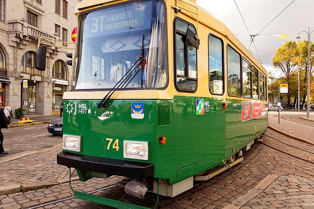 Public Transportation, tramway Helsinki, Finland.