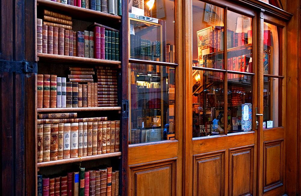 entrance to old fashioned bookshop, old town, Geneva, Switzerland