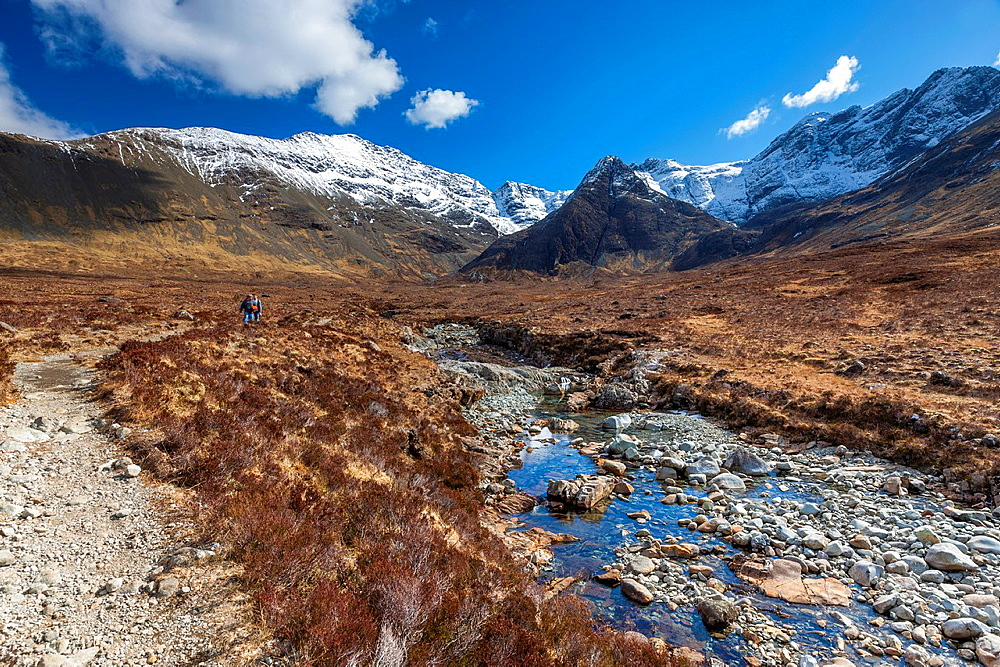 The Cuillin Hills from beside the Allt Coir a Mhadhaidh on the Fairy Pools walk, Glen Brittle, Isle of Skye, Inner Hebrides, Scotland, UK, Europe.