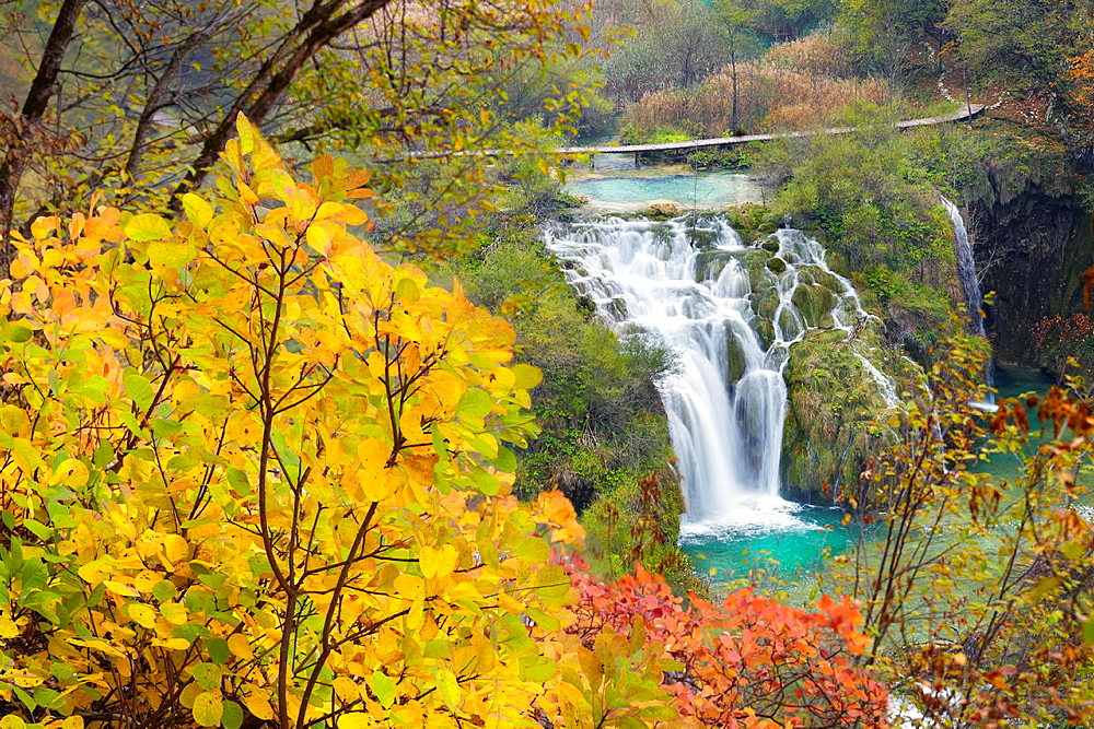 Croatia, autumn view of Plitvice Lakes National Park, waterfall between lakes, Plitvice, central Croatia, UNESCO.