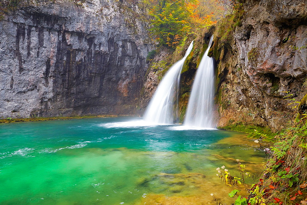 Croatia, waterfall in Plitvice Lakes National Park, central Croatia.