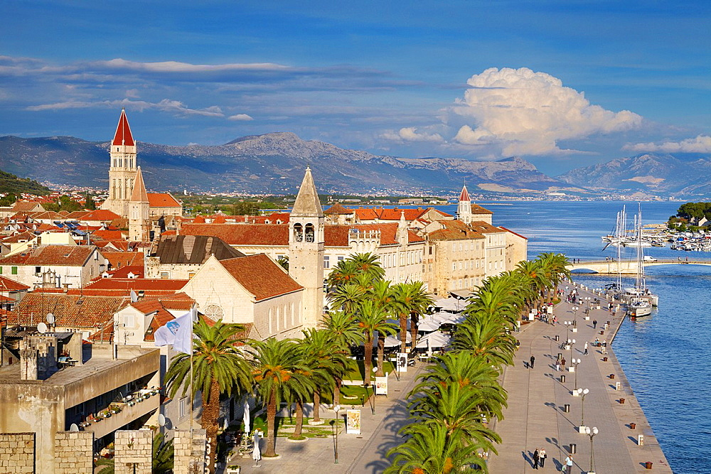 Croatia, Trogir Old Town and harbor, view from Kamerlengo Fortress, Dalmatia, Croatia, UNESCO.