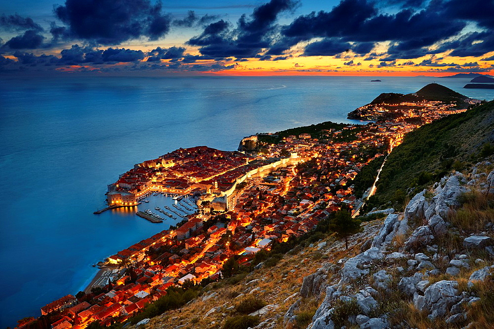 Croatia, Dubrovnik, view at Old Town City by night, Dalmatia, Croatia.