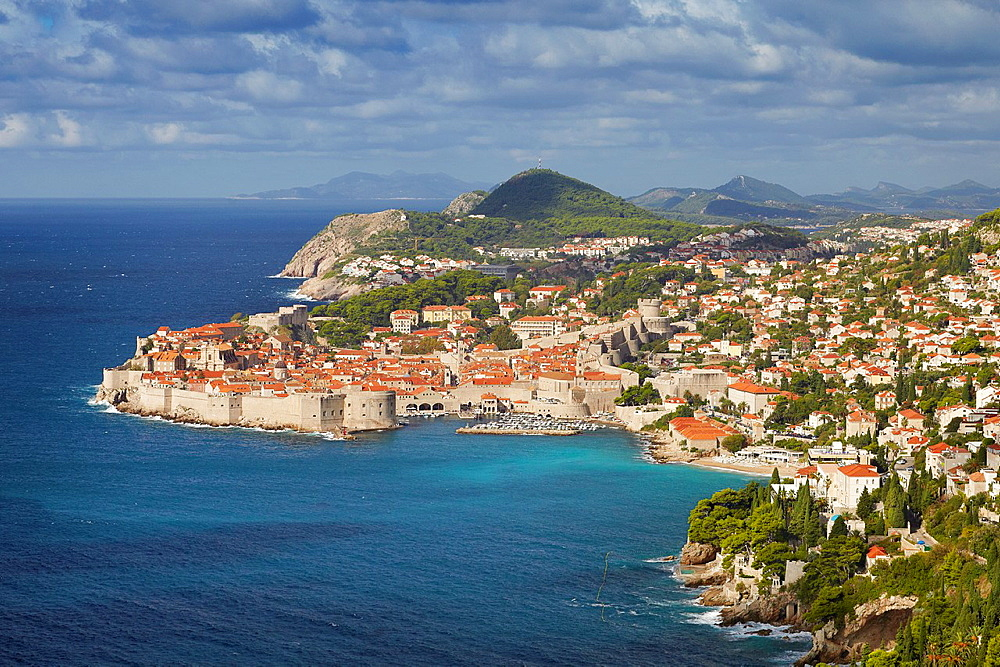 Croatia, aerial view of Dubrovnik, Old Town harbor, Dalmatia, Croatia, UNESCO.