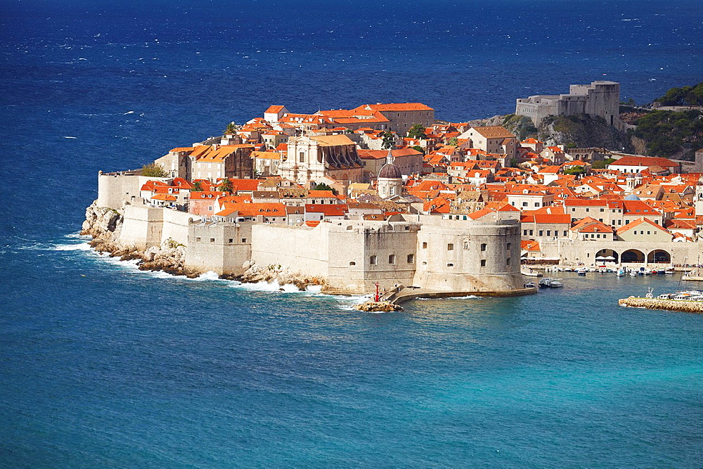 Croatia, Dubrovnik, Old Town harbor, aerial view from the hill, Dalmatia, Croatia, UNESCO.