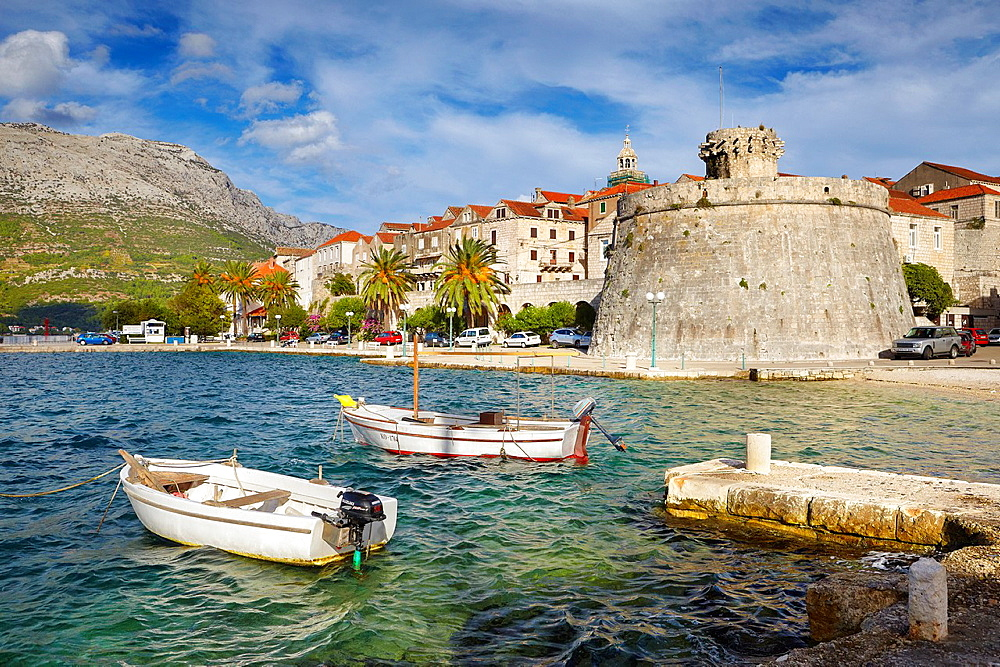 Croatia, Korcula Island, Korcula Old Town harbor, Dalmatia, Croatia.