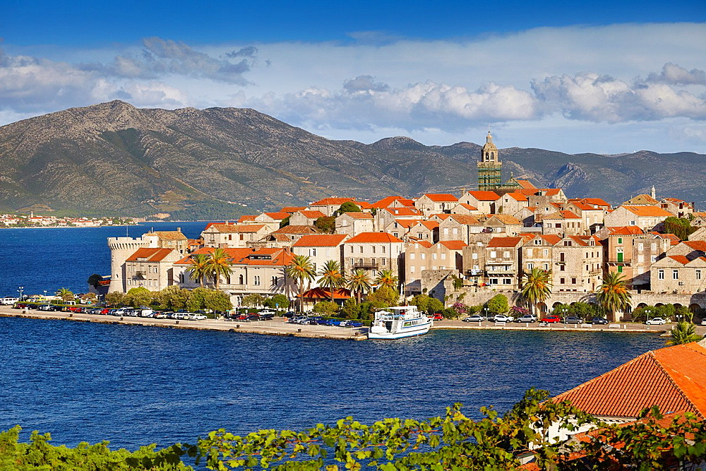 Croatia, Korcula Island, Korcula Old Town and harbour, Dalmatia, Croatia.