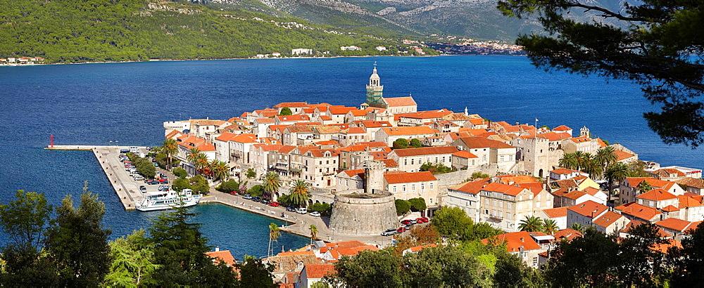 Croatia, Korcula Island, aerial view of Korcula Old Town, Dalmatia, Croatia.