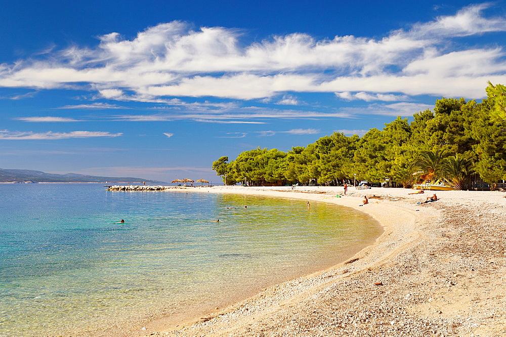 Croatia, Makarska Riviera, beach near Makarska Village, Dalmacia, Croatia.