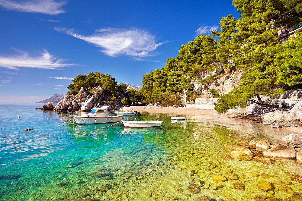 Croatia, Makarska Riviera, coast near Brela Village, Dalmacia, Croatia.