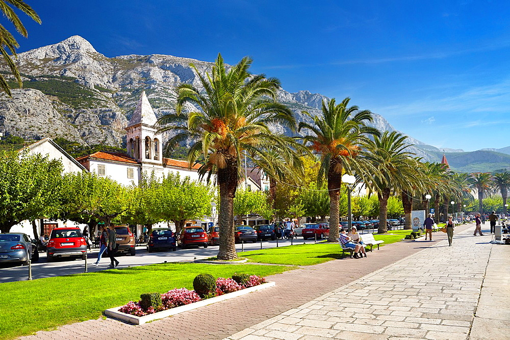 Croatia, Makarska Riviera, promenade in the Makarska Village, Dalmatia, Croatia.