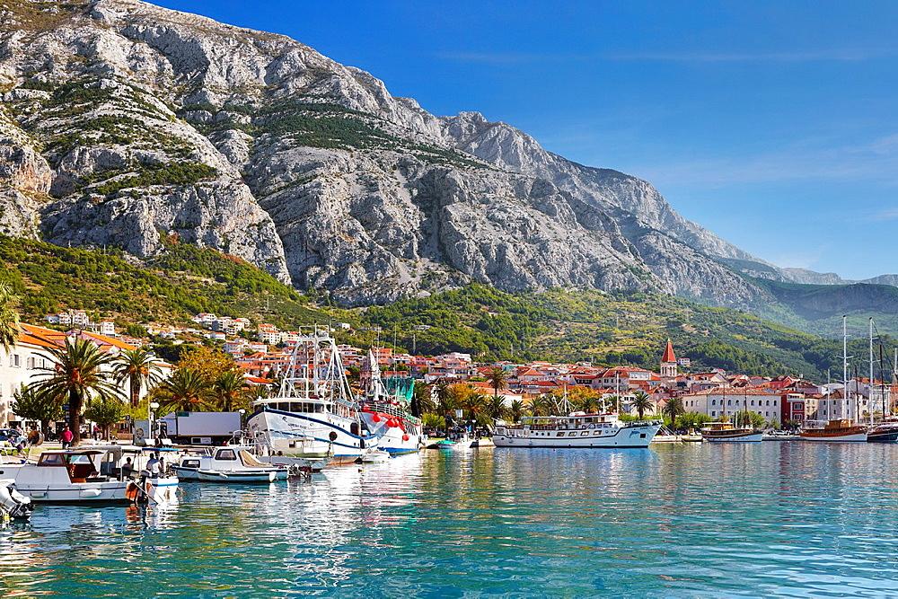 Croatia, Makarska Riviera, harbor in Makarska Village, Dalmatia, Croatia.