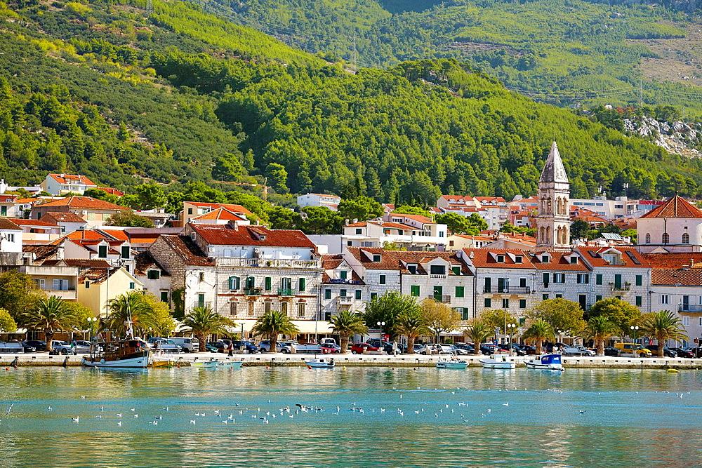 Croatia, Makarska Riviera, seafront Makarska Village, Dalmatia, Croatia.