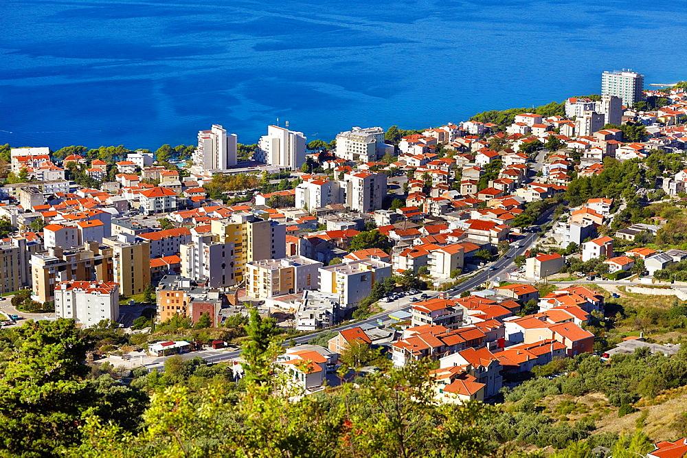 Croatia, Makarska Riviera, aerial view of Makarska Village, Dalmatia, Croatia.